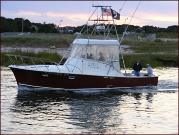 The Stunmai II leaving Rock Harbor, headed for a day of fishing on Cape Cod Bay.